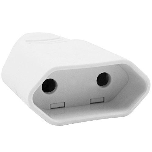 com-four® 4-teiliges Set aus Euro-Stromstecker und Euro-Flachkupplung, montierbar mit Schraubverschluss, bruchfest (04-teilig - weiß)
