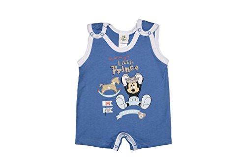 Disney - Mickey Mouse Jungen Baby-Spieler Little Prince aus Baumwolle, Spiel-Anzug mit Druck-Knöpfen, Schlafanzug ärmellos, blau oder weiß, Body in GRÖSSE 56, 62, 68, 74, 80 Farbe Blau, Größe 68