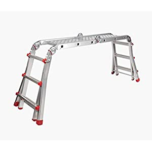 Escalera Andamio Bancada Telescópica Multiuso en Aluminio. Hecho en Europa. EN131 Capacidad Max. 150 kg