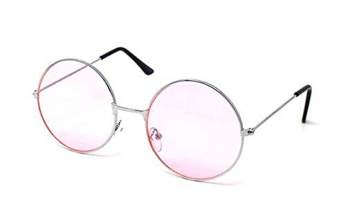 Ultra-Silber Mit Rosa Linsen Erwachsene Retro Runde Sonnenbrillen Stil John Lennon Vintage Look Qualität UV400 Elton Brillen Männer Frauen Klassische Unisex-Brillen