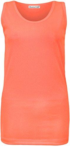 Neue Frauen Plus Size Fluoreszierende Farbe Neon Rippeneinbau Vest Tops 42-56 Neon Orange