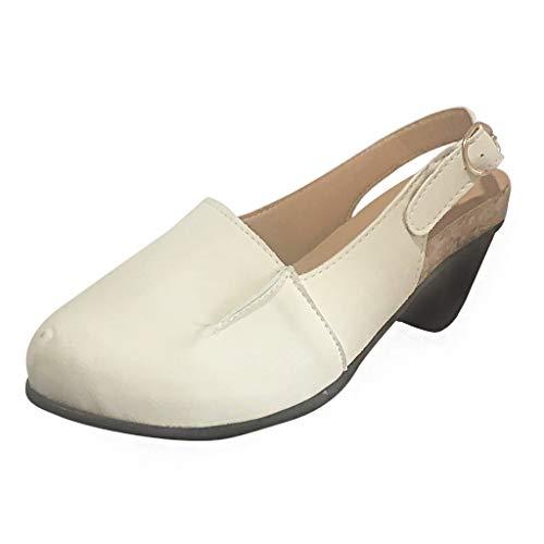 DOLDOA Sandalen Damen,Rom Frauen Sommer dicken Ferse Sandalen Pumps knöchel Schnalle runde Kappe Freizeitschuhe Beige High Heel Sandalen mit runden Zehenschnallen Beige -