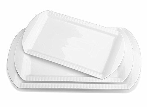 Lebenslange 40cm Porzellan geprägte rechteckige Platte / Servierplatten, 3er Set, weiß