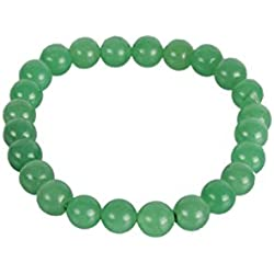 Excel Bracelet Green Aventurine Gemstone Stretch And Natural Handmade Beaded Stone Quartz Genuine Round