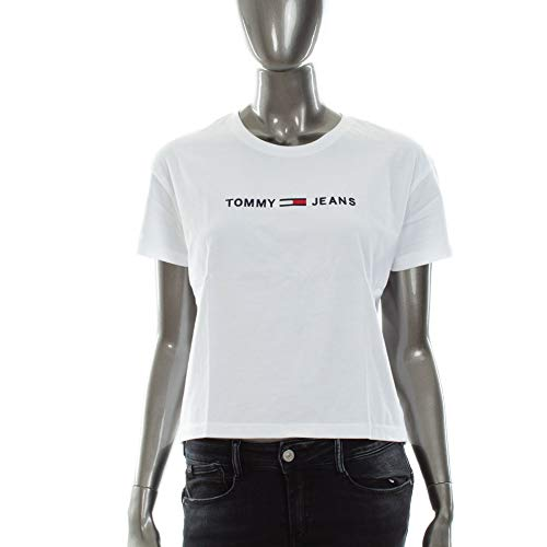 Hilfiger Denim Damen TJW CLEAN LINEAR Logo Tee T-Shirt, Weiß (Classic White 100), Small (Herstellergröße: S) -