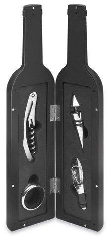 REFLECTS Wein-Set aus Ausgießer, Flaschenverschluss, Kellnermesser, Tropfring MILPITAS Schwarz