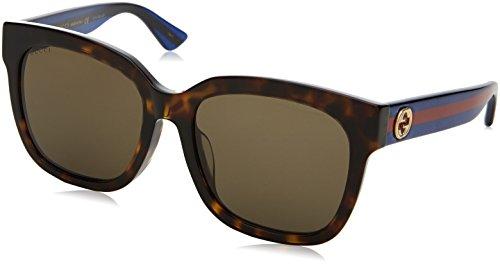 Gucci Damen GG0034SA 003 Sonnenbrille, Braun (Avana/Brown), 55