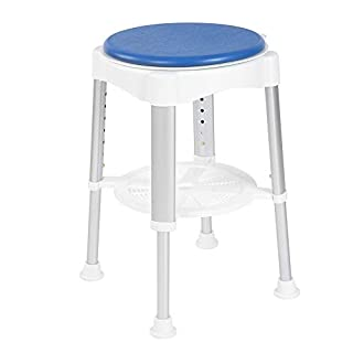 Bath Shower Stool,Aluminum Safety Seat Height Adjustable Shower Stool with Rotating Cushion Pregnant Elderly Disabled Care