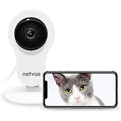 Caméra Surveillance sans Fil, NETVUE HD Caméra IP WiFi avec Détection de Mouvement, Zoom 8X, Vision Nocturne, Audio Bidirectionnel, Caméra Sécurité WiFi Interieur pour Animaux a la Maison