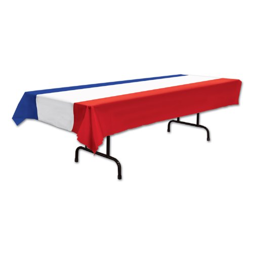 Patriotic Tablecover (red, White, Blue) Party Accessory  (1 Count) (1/pkg)