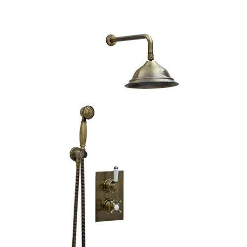 ENKI Unterputz-Duscharmatur Thermostat Kopfbrause 20cm Handbrause bronzefarbene -