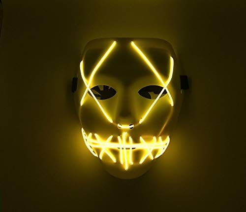 Upolymall LED Grimace Horror Glowing Mask Party Mask, Cold Light Ghost Walk Holiday Party Mask, Halloween Role Dress Up Cool Mask(Yellow) (Dress Up Halloween-party)