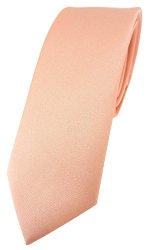 TigerTie schmale Designer Krawatte in lachs einfarbig Uni - Tie Schlips