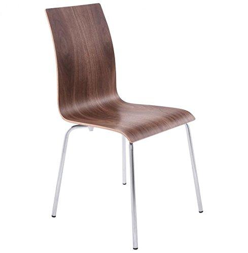 Küche Holz-finish Stuhl (CLASSIC Design Stuhl für Küche oder Esszimmer Holz Nussbaum Piétement Metall-Finish)