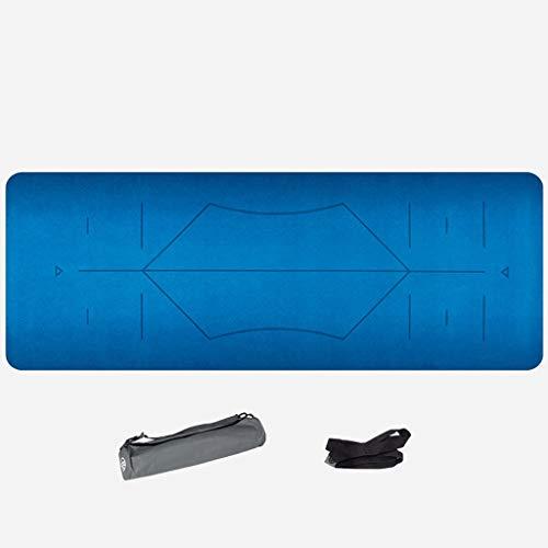 YJYDD Geeignet Für Alle Arten Von Yoga- Und Pilates-Pads (5 Mm), 70 Zoll Lange Trainingsmatten Mit Hoher Dichte Für Angenehmes Gummi (Farbe : Blau, größe : 5mm)