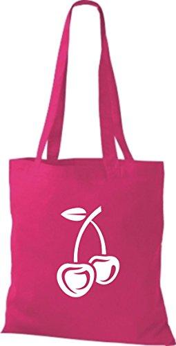 ShirtInStyle Stoffbeutel Baumwolltasche Dein Lieblings Obst und Gemüse Kirsche Farbe Kelly pink