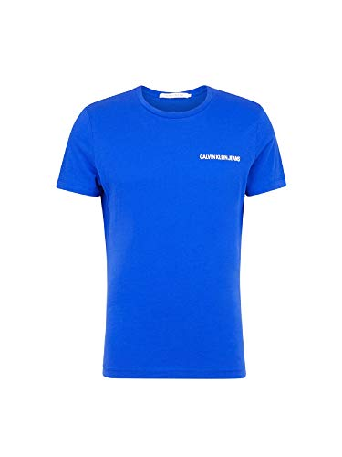 Calvin klein uomo t-shirt manica corta j30j307852 499 xl blu elettrico
