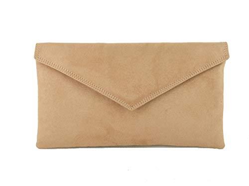 LONI Neat Umschlag Faux Wildleder Clutch Bag/Schultertasche in Camel -