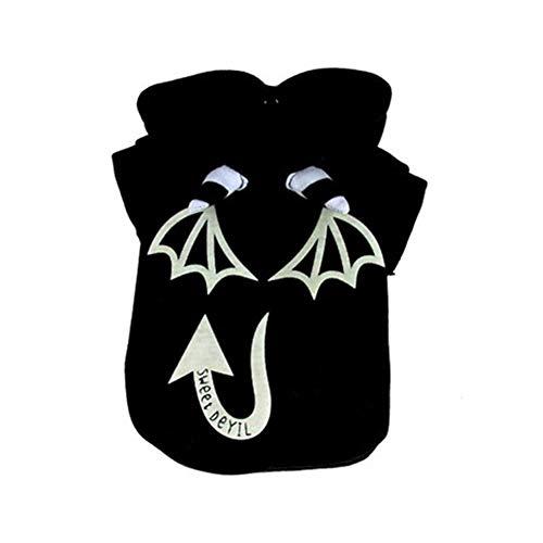 Kostüm Corgi Katze - zhixing Halloween Haustier Katze Hund Luminous Little Devil Jacke mit Hut Schwarze Kleidung Cosplay Kostüme Outfit Für Kleine Mittlere Andere Haustiere Kaninchen Pudel Bulldogge Corgi