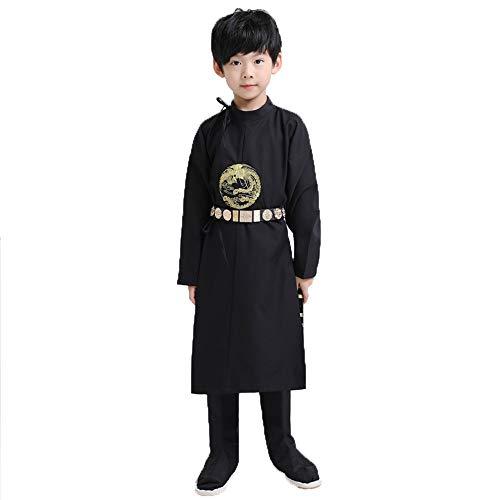 Chenyang86 Hanfu-Chinesischer Stil Tang Dynasty Rundhalsausschnitt Chinesische Lernkleidung (Farbe : SCHWARZ, größe : 150cm)