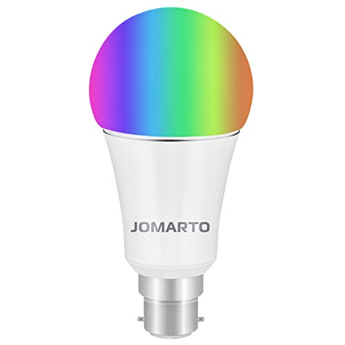 WiFi Smart Bulb, JOMARTO B22 Bayonet 9W Smart Led Bulb Compatible with Alexa, Google Home and IFTTT, Dimmable RGB Smart Light Bulb, No Hub Required, 60W Equivalent Remote Controlled by Smart Device