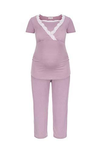 Herzmutter Kurzer Stillpyjama-Umstandspyjama   Nachtwäsche-Pyjama-Set für Schwangerschaft-Stillzeit-Stillfunktion   Schlafanzug mit Spitze-Streifen-Muster   Softes Material   2500 (M, Rosa) Rosa Pyjama Set