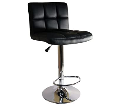 New Black Breakfast Bar Stool Faux Leather Barstool Kitchen Stools Chrome Chair