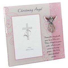 Christening angel, cornice portafoto 10 x 15 per battesimo bambina, in scatola regalo
