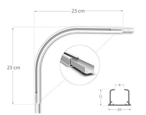 Rollmayer glänzend einläufig Gardinenschiene aus Aluminium (Durchschleuderbogen Weiß) Deckenbefestigung mit SMART-klick Montage, Innenlaufschiene für Vorhänge