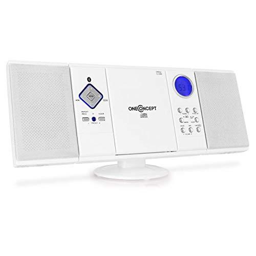 OneConcept V-12-BT White Edition - Chaîne stéréo compacte, Interface Bluetooth, Lecteur CD-MP3, Port USB, Tuner Radio AM/FM, 20 plages programmables, AUX-in, Télécommande, Blanc