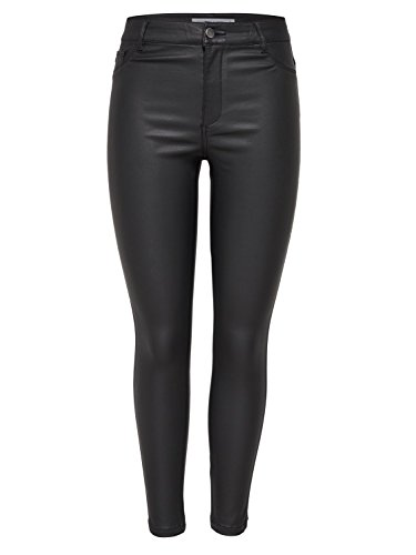 JDY Ladies Black Skinny Fit Tapered Ankle PU Leather Look Jeans