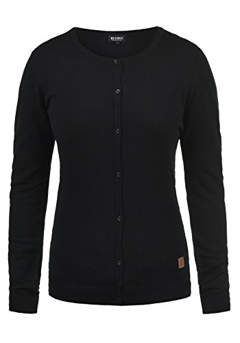DESIRES Effie Damen Strickjacke Cardigan Feinstrick mit Rundhals, Größe:L, Farbe:Black (9000)