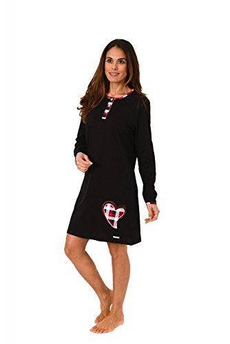 Damen Nachthemd langarm mit Herzmotiv - auch in grossen Grössen - 271 213 90 820, Größe:52/54;Farbe:schwarz