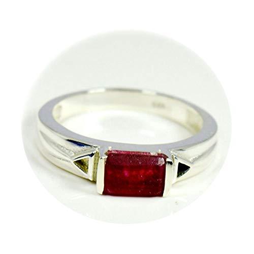 Gemsyogi Unisex Herren Damen - 925 Sterlingsilber Sterling-Silber 925 Smaragdschliff Red Rubin