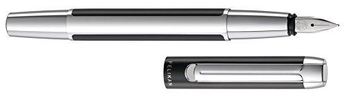 Pelikan 995290 Füllhalter Pura P40, M, schwarz-silber
