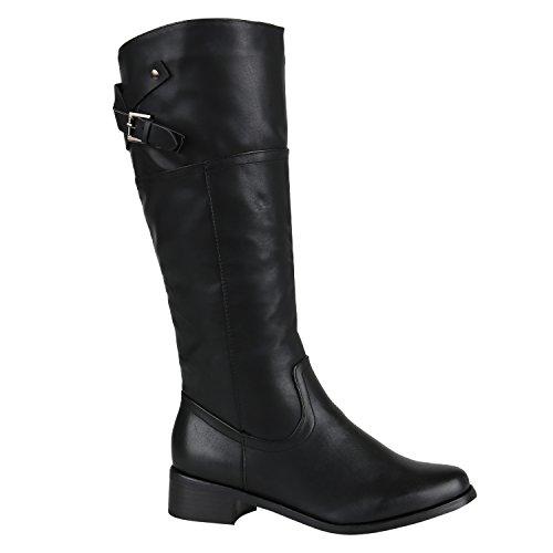 Gefütterte Damen Stiefel Reiterstiefel Langschaft Boots Schuhe 144482 Schwarz Schnallen 40 EU | Flandell®