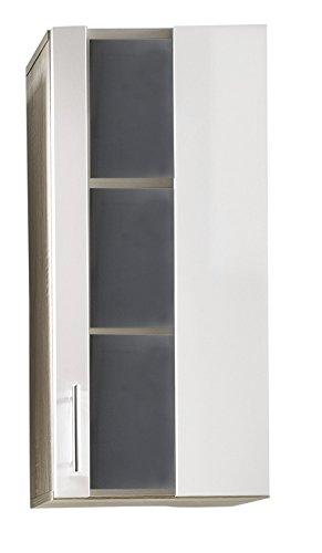 Trendteam bagno armadietto pensile armadio da parete porto, 33 x 70 x 21 cm, quercia chiara decorativa tagliata a sega, facciata bianca, molto capiente