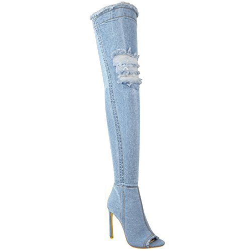 Femmes Au-dessus Du Genou Bottes Bas Talon Haut Talon Aiguille Jeans Extensible Taille Bleu Clair Jeans