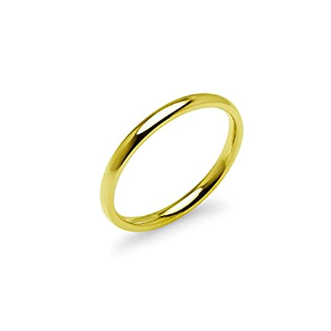 Yellow Gold Tone High Polish 2mm Plain Comfort Fit Wedding Band Ring Stainless Steel, Size 9