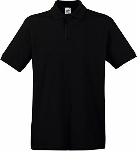 Fruit Of The Loom Premium Polo Shirt für Männer (XL) (Schwarz) XL,Schwarz (Herren-polo-polos)