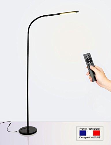 HaloOptronics - Rocket 1933 Pro - LED Stehleuchte mit Fernbedienung 10W entspricht 100W - Touch Variation von Helligkeit und Farbe. LED Lampe / Wohnzimmer Lampe / Schlafzimmer Lampe / Leselampe / Design Lampe. Alles Aluminium. Multi-Position Rotary 360 °, Mehrfachnutzung, variable Höhe. Französische Marke / 3 Jahre Garantie Lager und Kundendienst in FRANKREICH. Schwarz