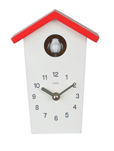 Cuco Clock Mini Kuckucksuhr Hochhaus mit Buntem Dach Tischuhr Design Uhr Modern Nachtruhe Kuckuck Holz Zeit Wanduhr Chronometer