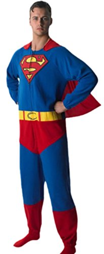 Halloweenia - Herren Superhelden Jumpsuit Superman, M, - Captain Ron Kostüm