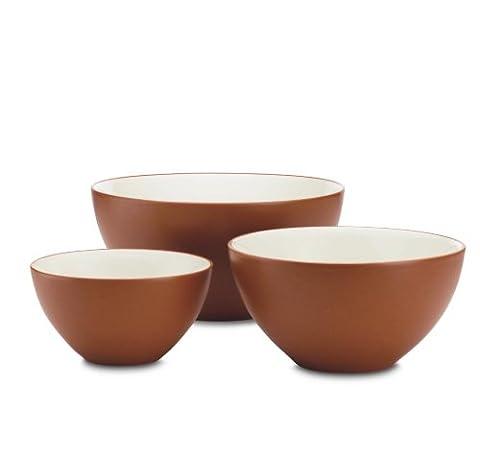 Noritake 3-Piece Colorwave Bowl Set, Terra Cotta Brown by Noritake