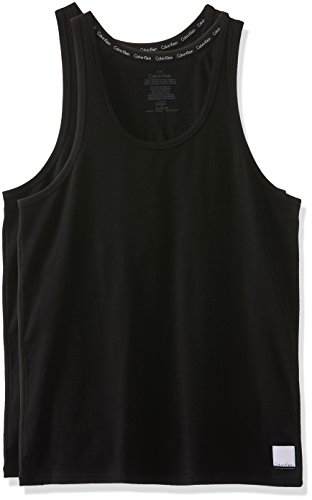 Calvin Klein Herren Top 2ptank, 2er Pack, Schwarz (Black/Black), Large (Calvin Top Klein Ärmelloses Schwarzes,)