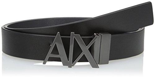 Armani Exchange Herren Everyday Logo Belt Gürtel, Schwarz Black/Phantom 43120, 95|#675 (Herstellergröße: 36)