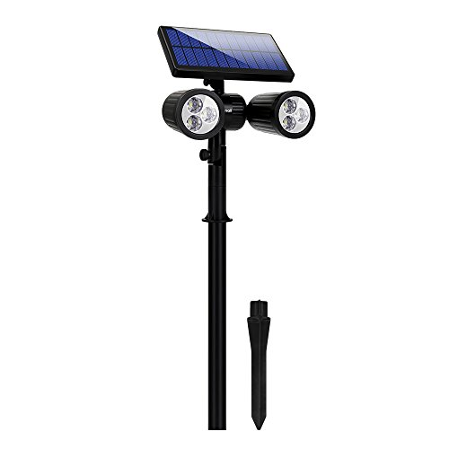 6 LED Lampe Solaire Projecteur Lumière de Sécurité Etanche Extérieur 2 en 1 Lampe Murale Eclairage en Terre avec 350 Lumens pour Jardin Spots Encastrés de Sol Allée Cour Terrasse Patio Mur (6LED)