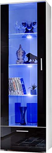 ExtremeFurniture T40 Vitrine, Carcasse en Blanc Mat/Façade en Noir Brillant + LED Multicolores avec télécommande