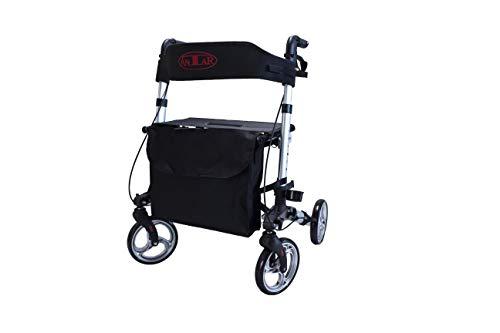 Antar 14949 Premium Aluminium-Rollator Set, Leichtgewicht-Reiserollator mit Vollausstattung, 3-fach faltbar für Kofferraum, Reise und Flug, Höhe verstellbar, Gurt, Stockhalter, silber