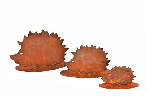 Rostikal Herbstdeko Igel Familie 3er Set, Edelrost Metall, Garten und Wohn Dekoration mit Pfiff